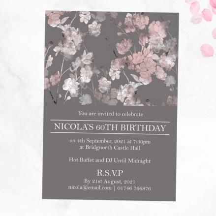60th Birthday Invitations - Sakura Blossom
