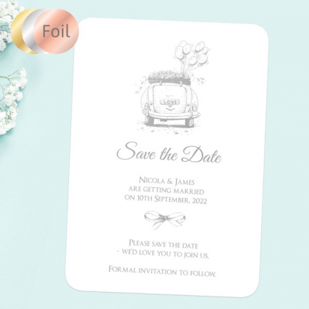 Vintage-Wedding-Car-Foil-Save-the-Date-Cards