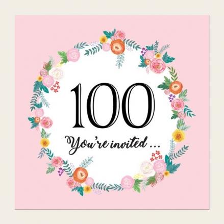 100th Birthday Invitations - Pink Flowers Border