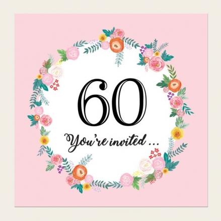 60th Birthday Invitations - Pink Flowers Border