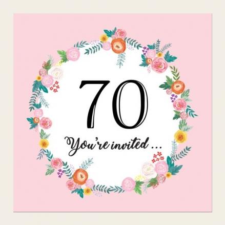 70th Birthday Invitations - Pink Flowers Border