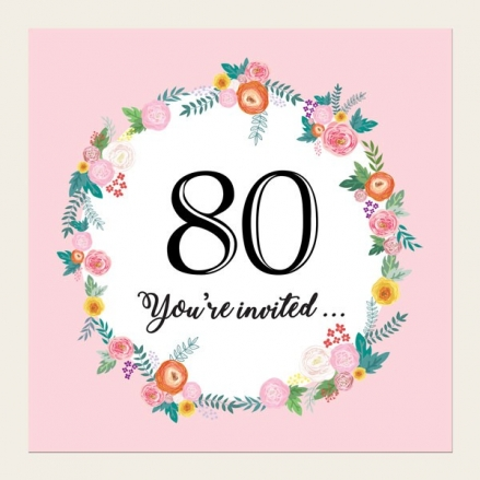 80th Birthday Invitations - Pink Flowers Border