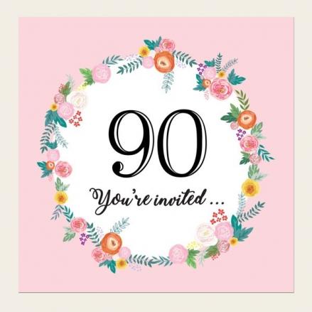 90th Birthday Invitations - Pink Flowers Border