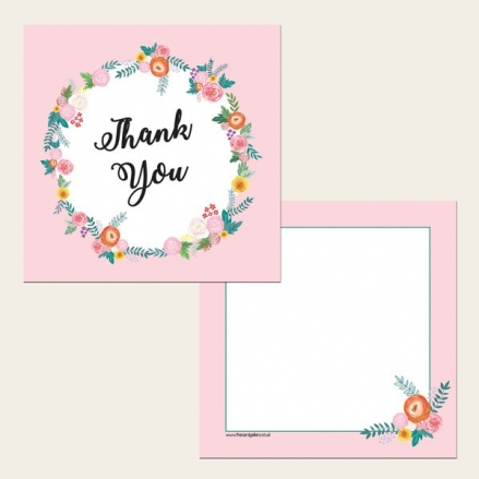 Ready to Write Thank You Cards - Pink Flowers Border