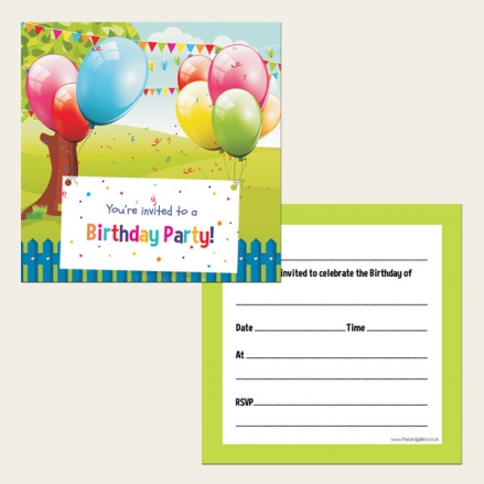 Ready To Write Kids Birthday Invitations - Balloons and Bunting - Pack of 10
