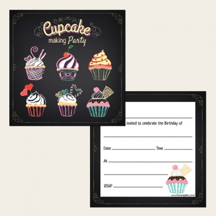 Ready To Write Kids Birthday Invitations - Cupcake Making Party - Pack of 10