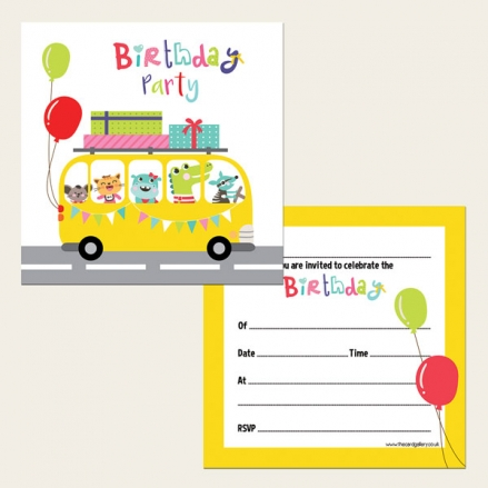 Ready To Write Kids Birthday Invitations - Party Bus - Pack of 10