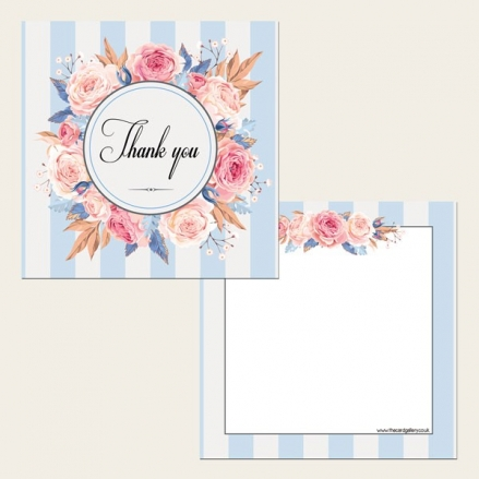 Ready to Write Thank You Cards - Striped Blue Floral Pattern