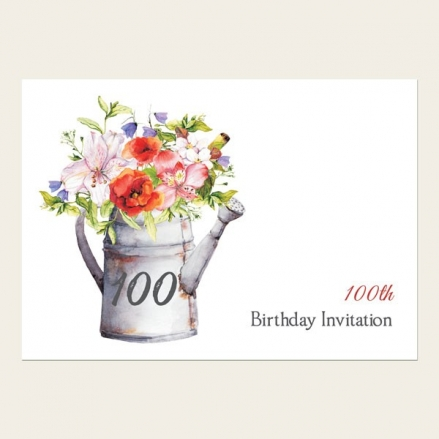 100th Birthday Invitations - Watering Can Flowers