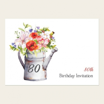 80th Birthday Invitations - Watering Can Flowers
