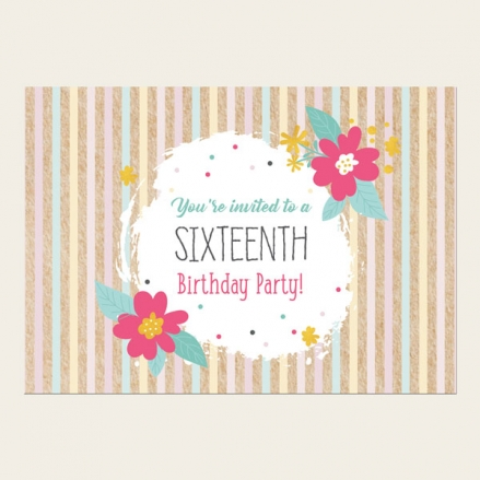 16th Birthday Invitations - Candy Stripe Flowers