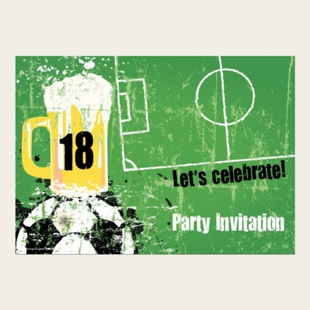18th Birthday Invitations - Men's Football & Beer