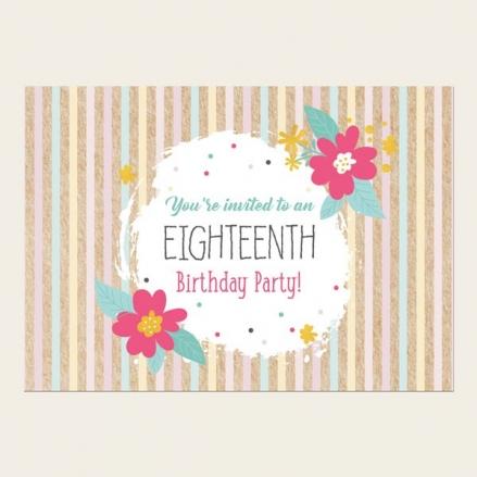 18th Birthday Invitations - Candy Stripe Flowers
