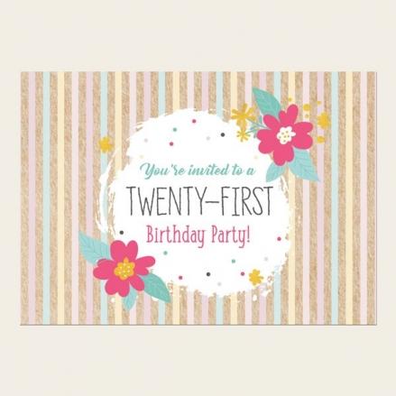 21st Birthday Invitations - Candy Stripe Flowers