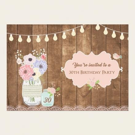 30th Birthday Invitations - Mason Jar Flowers on Wood