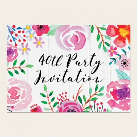 40th Birthday Invitations - Bright Watercolour Flowers
