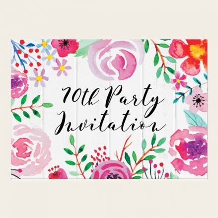 70th Birthday Invitations - Bright Watercolour Flowers