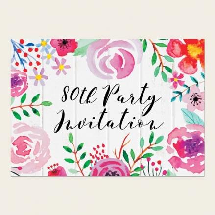 80th Birthday Invitations - Bright Watercolour Flowers