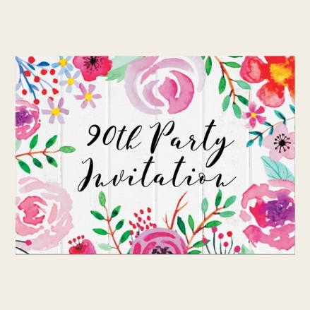 90th Birthday Invitations - Bright Watercolour Flowers