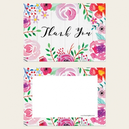 Ready to Write Thank You Cards - Bright Watercolour Flowers