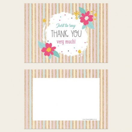 Ready to Write Thank You Cards - Candy Stripe Flowers