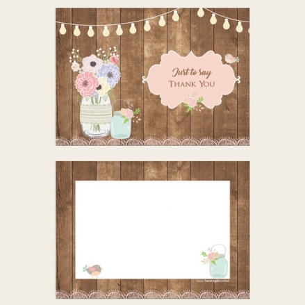 Ready to Write Thank You Cards - Mason Jar Flowers on Wood