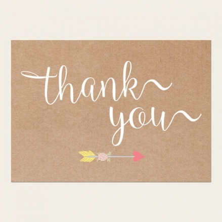 Thank You Cards - Rustic Hearts and Arrows