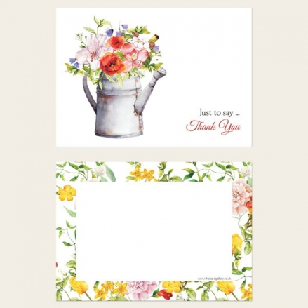 Ready to Write Thank You Cards - Watering Can Flowers