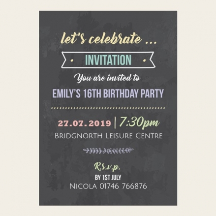 Teen Party Invitations - Chalkboard Pastel Typography