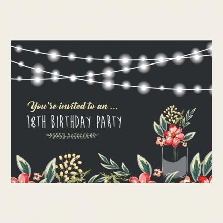 18th Birthday Invitations - Chalkboard Red Mason Jar Flowers