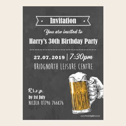30th Birthday Invitations - Chalkboard Beer