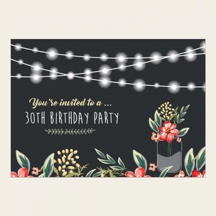 30th Birthday Invitations - Chalkboard Red Mason Jar Flowers