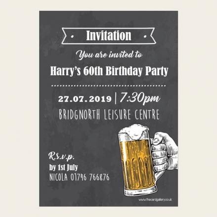60th Birthday Invitations - Chalkboard Beer