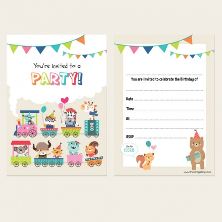 Ready To Write Kids Birthday Invitations - Animal Party Train - Pack of 10