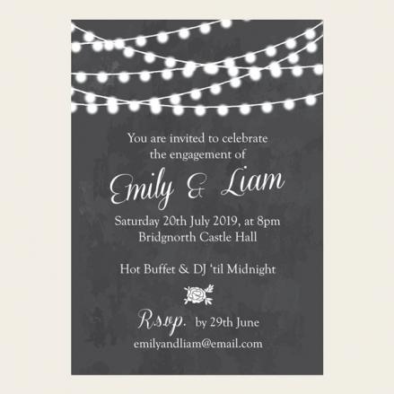 Engagement Party Invitations - Chalkboard Festoon Lights