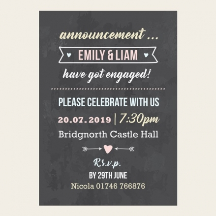 Engagement Party Invitations - Chalkboard Pastel Typography