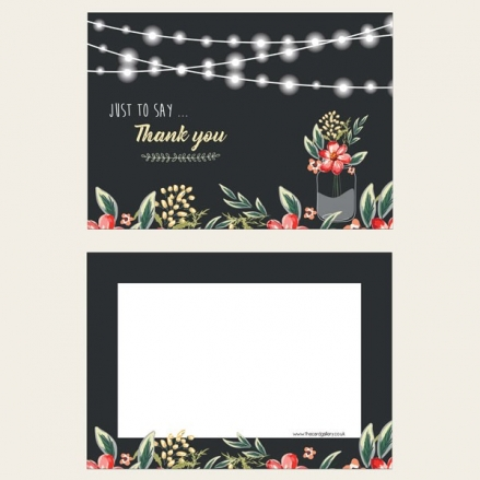 Ready to Write Thank You Cards - Chalkboard Red Mason Jar Flowers