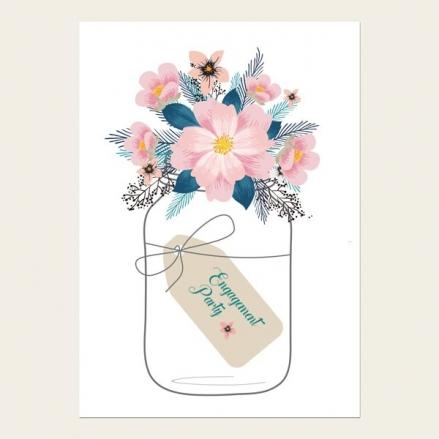Engagement Party Invitations - Pink Mason Jar Flowers