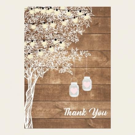 Thank You Cards - Rustic Festoon Lights & Mason Jars