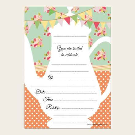 Tea Party Invitations - Tea Pot