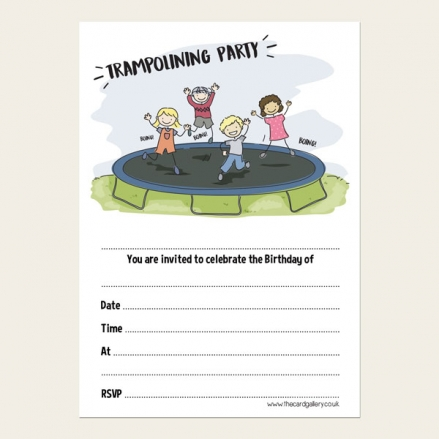 Ready To Write Kids Birthday Invitations - Trampolining Party - Pack of 10