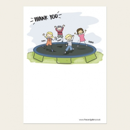 Ready to Write Kids Thank You Cards - Trampolining Party