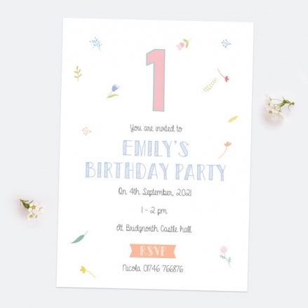 1st Birthday Invitations - Scattered Flowers - Pack of 10