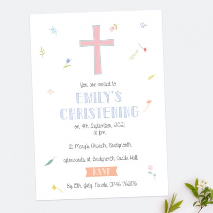 Christening Invitations - Scattered Flowers - Pack of 10