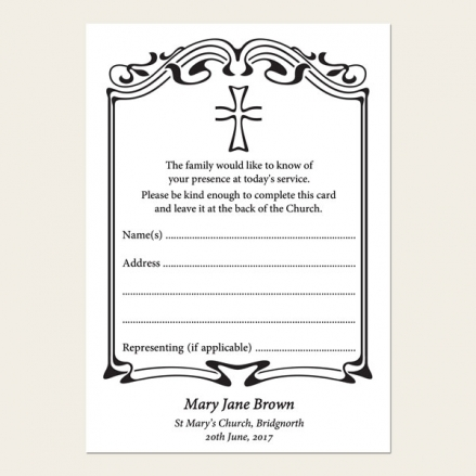 Funeral Attendance Cards - Scroll Border