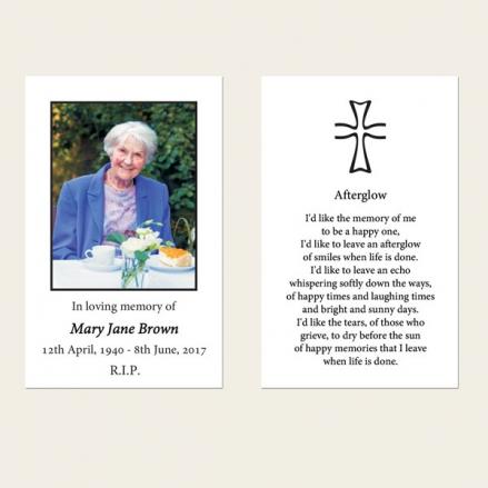 Funeral Memorial Cards - Scroll Border