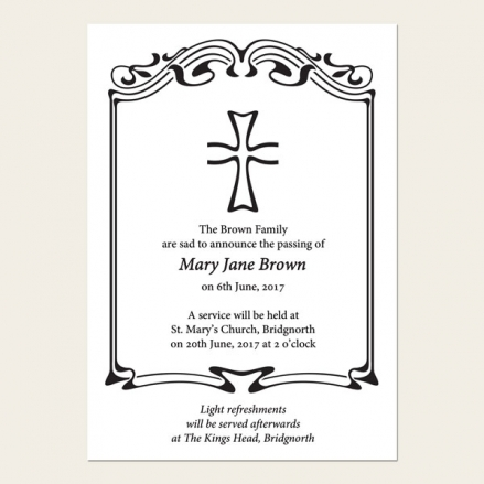 Funeral Announcement Cards - Scroll Border