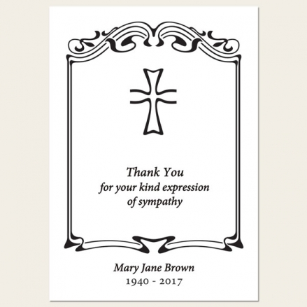 Funeral Thank You Cards - Scroll Border