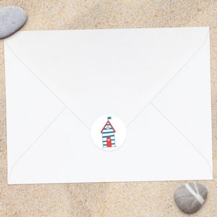 Seaside Beach Huts - Wedding Envelope Seals