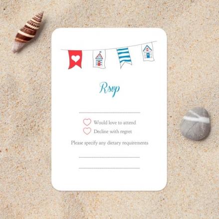 Seaside Beach Huts - Wedding RSVP Cards